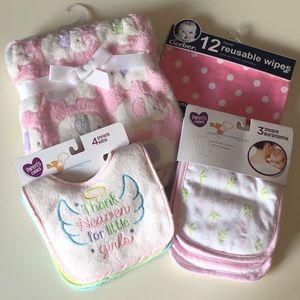 NWT Baby Girl Blanket, Burpcloths, Bibs Bundle